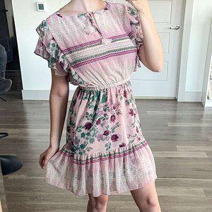 Misa Los Angeles Floral Ruffle Romantic Mini Dress